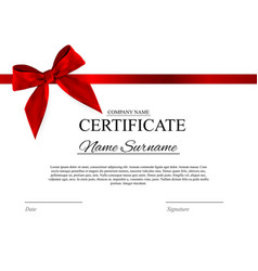 Certificate template background with red bow vector image yadclub Choice Image