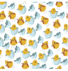 chicken in eggshell and bird seamless pattern vector image