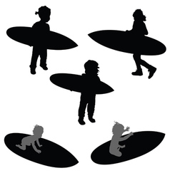 Child silhouette with surfboard in black vector