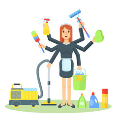 Cleaning service maid woman vector