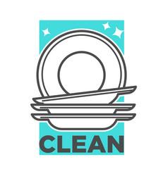 cleaning service washing dishes or dishwashing vector image