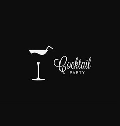 Cocktail fresh glass logo on black background vector