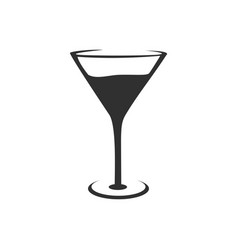 Cocktail glass silhouette design vector