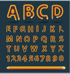 Creative pencil alphabet style vector