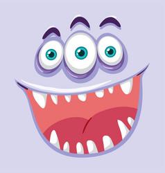 Creepy three eyed monster face vector