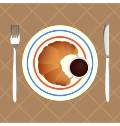 Croissant with chocolate sauce for breakfast vector