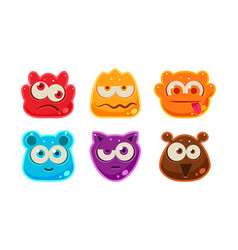 Cute funny colorful jelly animal faces set user vector