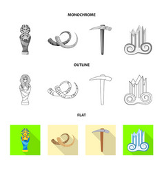 design of story and items symbol set of vector image