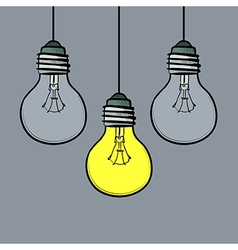 doodle style light bulbs vector image
