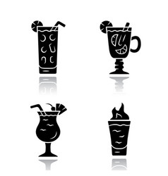 Drinks drop shadow black glyph icons set cocktail vector