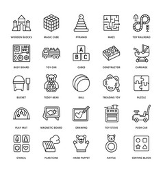 Early development baby toys flat line icons play vector