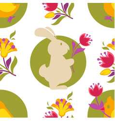 easter bunny and tulip spring holiday seamless vector image