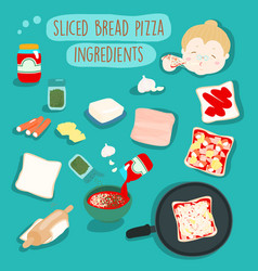 Easy sliced bread pizza without oven ingredients vector