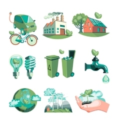 Ecology Decorative Icons Set vector image