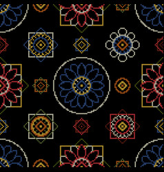 embroidery pattern bright seamless dark vector image