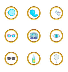Eye care ophthalmology icons set cartoon style vector