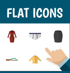 flat icon garment set of beach sandal banyan vector image