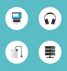 Flat icons earphones laptop datacenter and other vector