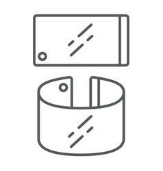 Flexible smartphone thin line icon gadget and vector