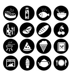 Food icons editable line icons set on black vector