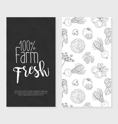 fresh farm food card template with hand drawn vector image