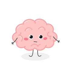 Funny cartoon brain shrugging i dont know vector