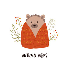 funny hedgehog in a blanket cute forest animal vector image