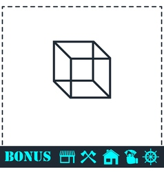 Geometric cube icon flat vector image