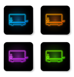 glowing neon toaster icon isolated on white vector image