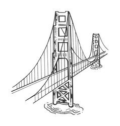 Golden gate bridge sketch engraving vector