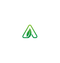 green leaf triangle logo vector image