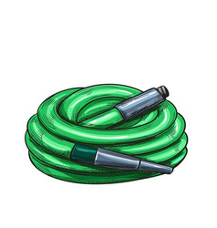Green watering hose vector