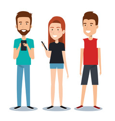 Group of different young using mobile phones vector