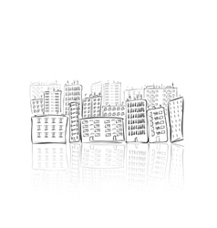 Hand drawn city of houses vector