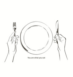 Hands holding a knife and fork plate on a vector