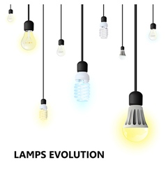 Hanging on cords light bulbs on a white background vector image