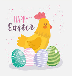 happy easter cute hen and eggs decoration vector image