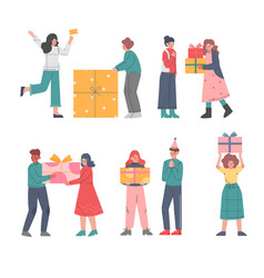 happy people receiving and giving presents set vector image