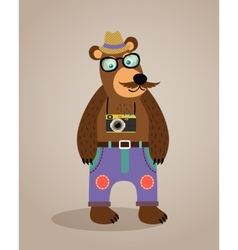 Hipster geek animal teddy bear vector