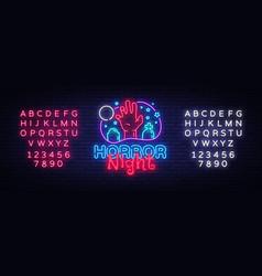 horror night neon sign halloween poster vector image