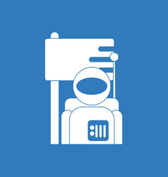 Icon astronaut and flag vector