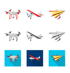 Isolated object of plane and transport sign set vector