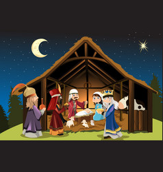 Jesus christ and three wise men vector