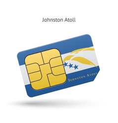 Johnston Atoll mobile phone sim card with flag vector