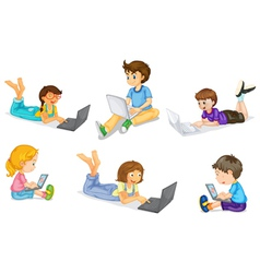 kids with laptop vector image