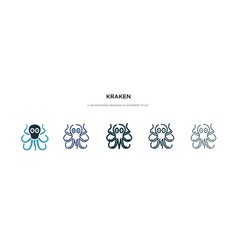 Kraken icon in different style two colored and vector
