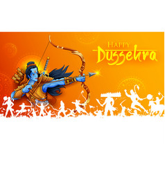 Lord rama in navratri festival of india poster for vector