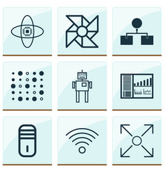 Machine icons set with processor computer cooler vector