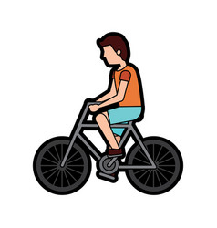 man riding bike icon image vector image