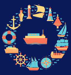 maritime round concept with ship icons in flat vector image